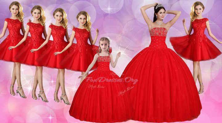 Red Tulle Lace Up Sweet 16 Dress Sleeveless Floor Length Beading