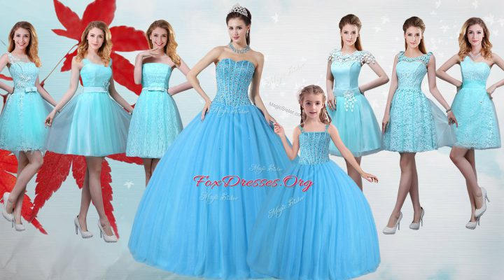 Baby Blue Tulle Lace Up Quinceanera Dresses Sleeveless Floor Length Beading