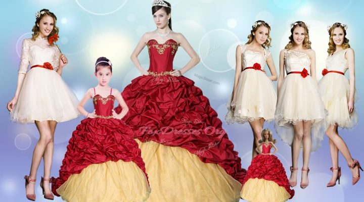 Extravagant Wine Red Sleeveless With Train Beading and Appliques and Pick Ups Lace Up Quinceanera Gowns