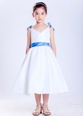 White and Blue A-line V-neck Tea-length Bows Flower Girl Dress