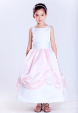 A-line Scoop Ankle-length Hand Made Flowers Flower Girl Dress