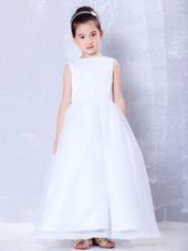 White A-line Bateau Ankle-length Flower Girl Dress Organza Beading