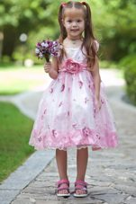 Scoop Tea-length Hand Made Flowers Flower Girl Dress