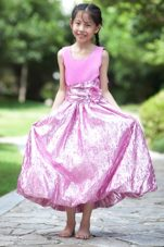Cute 2013 Pink Scoop Ankle-length Bow Little Girl Dress