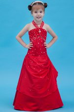 Red Halter A-line Floor-length Taffeta Beading Little Girl Dress