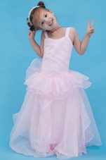 Baby Pink A-line Straps Floor-length Organza Little Girl Pageant Dresses