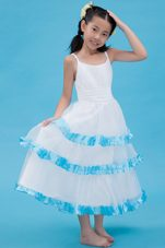 White and Blue A-line Straps Ankle-length Ruche Little Girl Dress