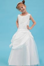 Beading and Applqiues White A-line Scoop Flower Girl Dress