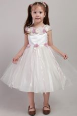 Tea-length A-line Pretty Girls Party Dresses with Handle Made Flower