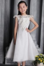 Princess Bateau Tea-length Flower Girl Dress Cheap
