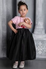 Pink and Black Tea-length Ruffes Pretty Girls Party Dresses