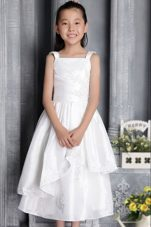 White Square Tea-length Taffeta Appliques Flower Girl Dress