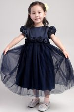 Navy Blue Scoop Tea-length Little Girl Dress