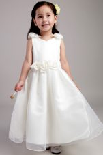 White V-neck Flower Girl Dress Ankle-length with Hand Made Flower