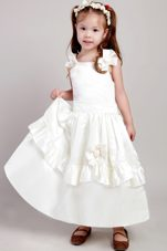 Ankle-length White A-line Straps Bow Little Girl Dresses