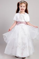Embroidery White A-line Square Flower Girl Dress