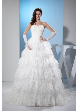 Ruffled Layers Sweetheart A-line Court Train Wedding Dress with Lace