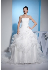 Pleats Strapless Ball Gown Beading Court Train Wedding Dress