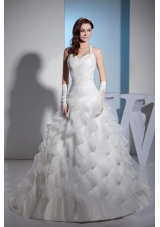 Beading and Lace Ruffled Layers Halter A-line Court Train Wedding Dress