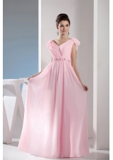 Beading V-neck Empire long Pink Prom Dress with Side Zipper