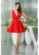 V-neck Short Mini Length Red Princess Stylish Prom / Cocktail Dress
