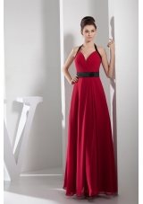 2013 Simple Column Halter Sash Long Red Prom Dress