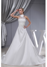 Beading Hand Made Flower Halter Chapel Train Wedding Dress