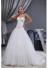 Lace Ruching Sweetheart A-line Chapel Train Wedding Dress