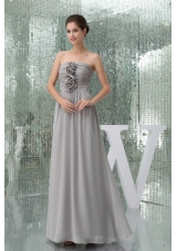 Hand Made Flowers Gray Strapless Empire Long Prom Dress