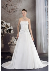 A-line Strapless Hand Made Flower Appliques Court Train Wedding Dress