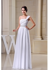 White One Shoulder Beading Ruching Chiffon Prom Dress