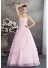 Pincess Sweetheart Baby Pink Organza Appliques Prom Dress