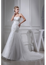 Embroidery Beding V-neck Ruching Mermaid Court Train Wedding Dress