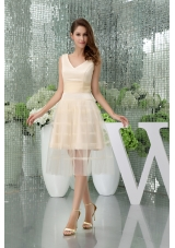 A-line V-neck Short Champagne Tulle Prom Dress