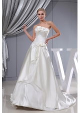 Hand Made Flowers A-line Chapel Train Strapless Wedding Dress