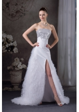 Ruffles A-line Strapless High slit Sequins Wedding dress