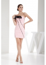 Ruching Column Strapless Short Prom Dress in Pink