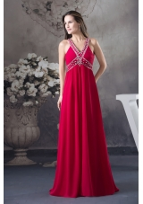 Red V-neck Empire long Criss Cross Beading 2013 Prom Dress