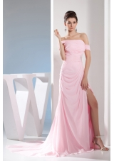 Empire Off the Shoulder Court Train Pink Prom /Celebrity Dress
