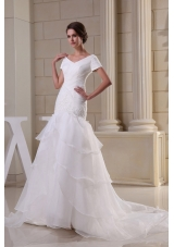 Appliques and Ruching V-neck Short Sleeves Wedding Dress