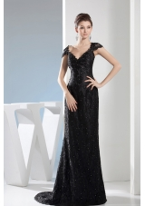 Beading Black Lace V-neck Column Brush Train Prom Dress