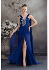 Elegant Beading Royal Blue Empire Watteau Train Prom Dress
