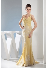 Appliques Mermaid Halter Gold Brush Train Prom Dress