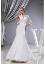 Lace V-neck Mermaid Court Train 3/4 Sleeves Wedding Dress