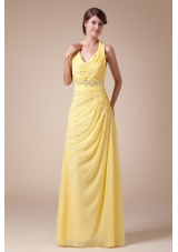 Halter Top Yellow Long Latest Empire Beading Prom Dress