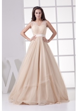 Romantic Princess Champagne V-neck Long Prom Dress For 2013