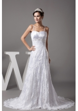 A-line Spaghetti Straps Lace Court Train Wedding Dress