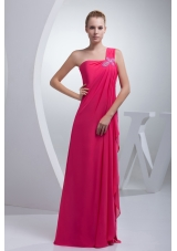 Coral Red One Shoulder Beading Long Prom Dress