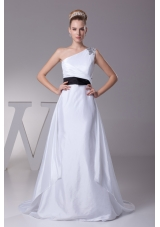 Beading A-Line Brush Train One Shoulder Wedding Dress