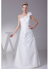 Hand Made Flower One Shoulder Column Long Wedding Dress